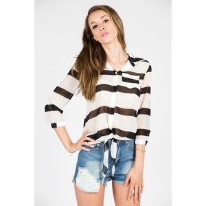 Tops - White Black Striped Tie Front Button Down Blouse